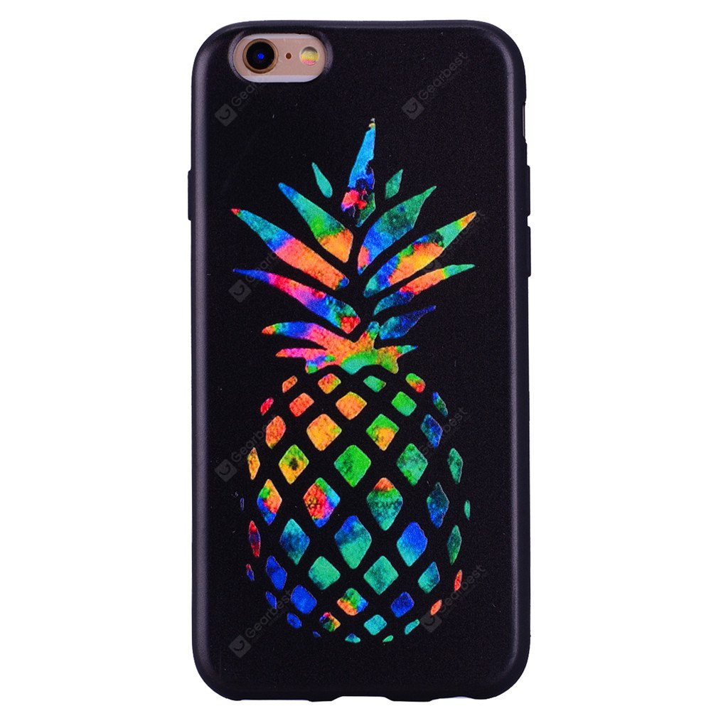 Colorful pineapple Phone Case for IPhone 6 / 6S Cartoon Relief Soft Silicone TPU Cover Cases Protection Phone Bag with