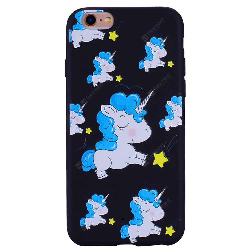 Blue Unicorn Phone Case for IPhone 6 / 6S Case Cartoon Relief Soft Silicone TPU Cover Cases Protection Phone Bag with