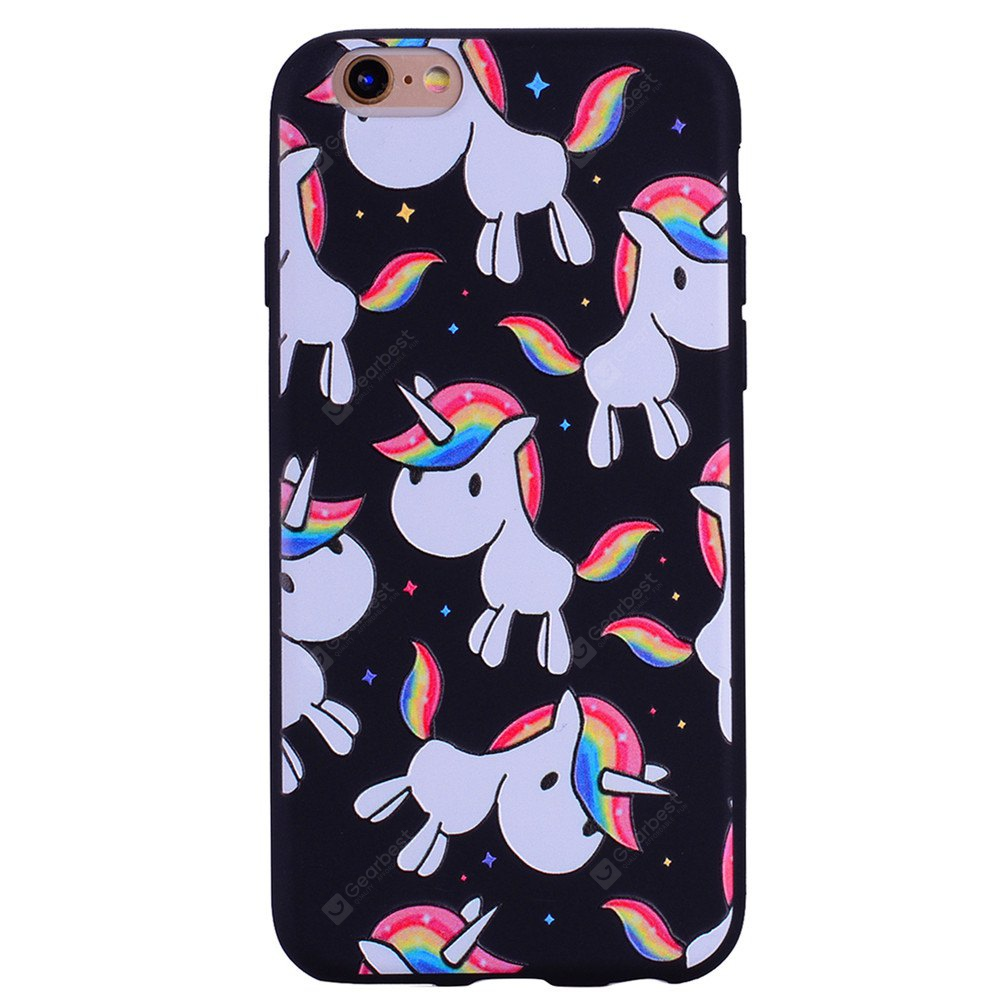Rainbow Unicorn Phone Case for IPhone 6 Plus / 6s Plus Cartoon Relief Soft Silicone TPU Cover Cases Protection Phone Bag with