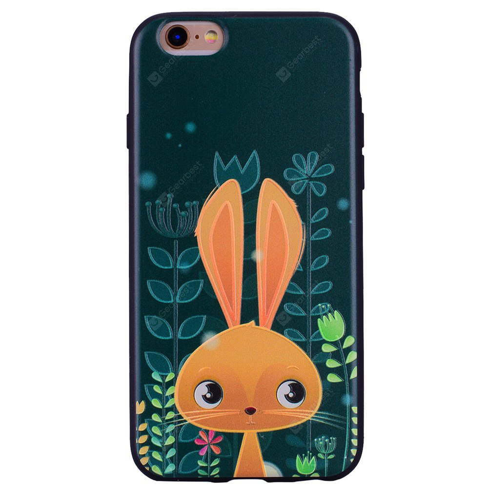 Adorable rabbits Phone Case for IPhone 6 Plus / 6s Plus Cartoon Relief Soft Silicone TPU Cover Cases Protection Phone Bag