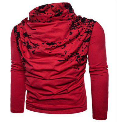 Autumn and Winter New Personality Fashion Spray Paint Pile Collar Long Sleeved Man SweaterMJ20