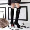 Autumn and Winter in Europe with a Fine Pointed Waterproof High-heeled Boots Over the Knee Boots - BLACK