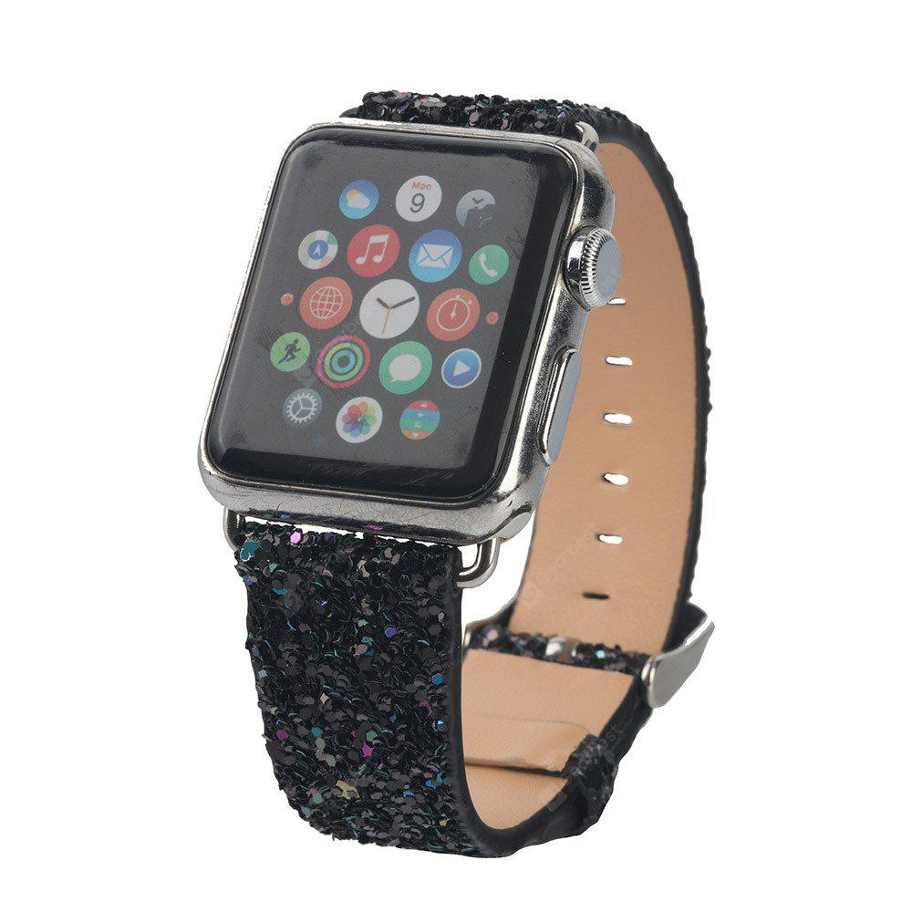NEW Bling Crystal Leather Loop Steel Lock Band For Apple Watch