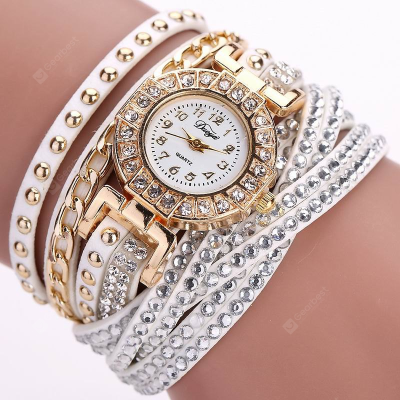 DUOYA D061 Women Girls Wrap Bracelet Wrist Watch with Rhinestones