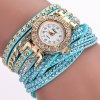 DUOYA D061 Women Girls Wrap Bracelet Wrist Watch - SKYBLUE
