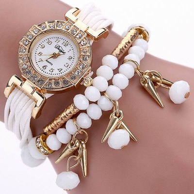 DUOYA D052 Women Ladies Beaded Analog Quartz Bracelet Wrist Watch