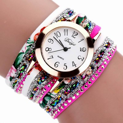 DUOYA D048 Women Wrap Around Floral Bracelet Wrist Watch