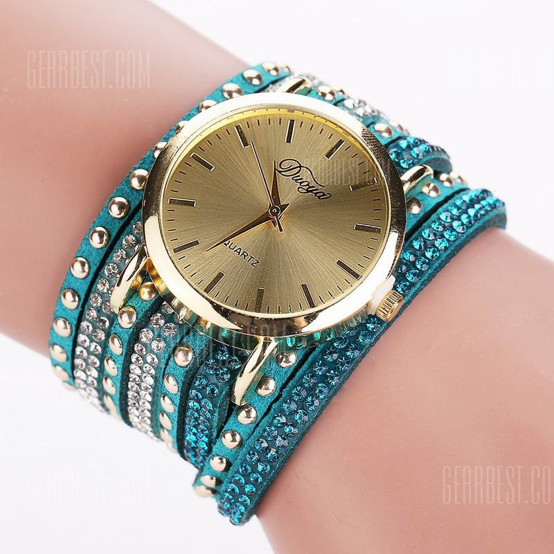 DUOYA D017 Women Wrap Around Rhinestones Quartz Bracelet Wrist Watch