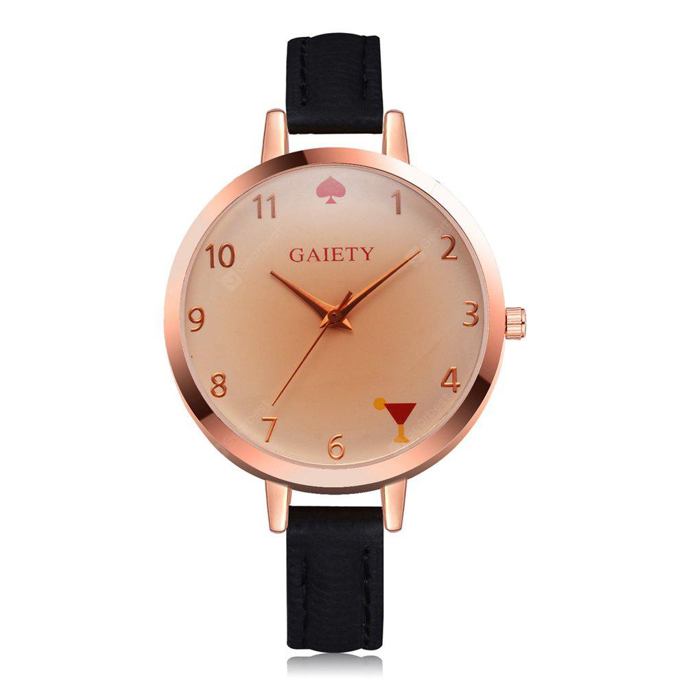 GAIETY Women's Fashion Small Leather Band Wrist Watches Rose Gold Tone G522