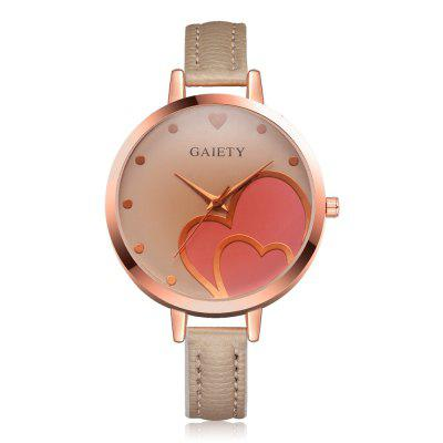 GAIETY  Women's Peach Heart  Small PU Band Wrist Watch G521