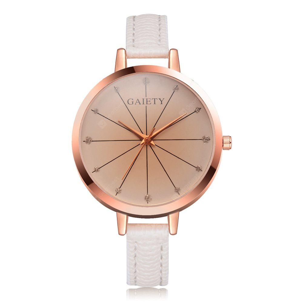 GAIETY Women's Lines Dial Leather Strap Wrist Watch Rose Gold Tone G520