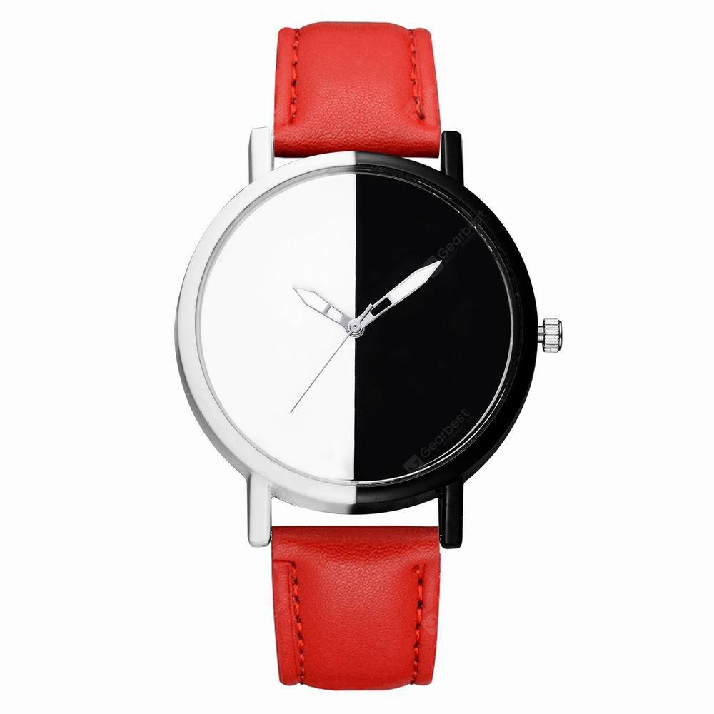 GAIETY Women Two Tone Dial Leather Strap Dress Watch G519
