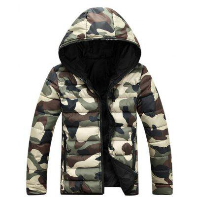 Men's Regular Padded Coat Street Chic Going Out Casual Daily Camouflage Cotton Cotton Long Sleeves Coat