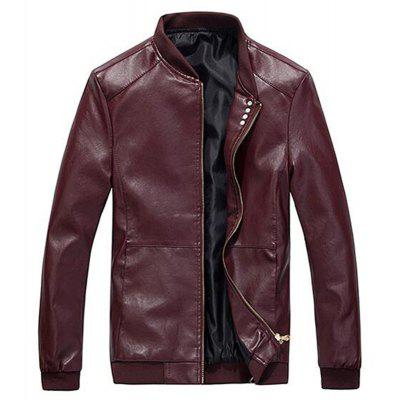 Men's Casual Daily Simple Winter Fall Leather Jacket Solid Stand Long Sleeve Regular PU
