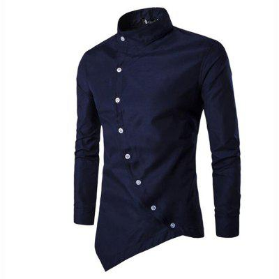 Buy BLUE XL Men's Casual Daily Simple Chinoiserie Spring Fall Shirt Solid Stand Long Sleeves Cotton for $27.51 in GearBest store