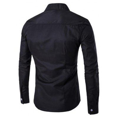 Buy BLACK L Men's Casual Daily Simple Chinoiserie Spring Fall Shirt Solid Stand Long Sleeves Cotton for $27.51 in GearBest store