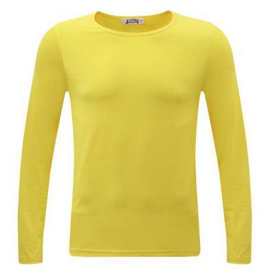 Buy YELLOW 2XL Men's Plus Size Striped Patchwork White Navy Blue T-shirt Casual Slimming Crew Neck Long Sleeve for $23.40 in GearBest store
