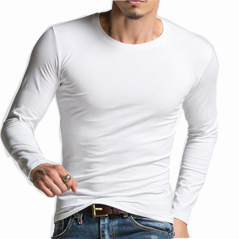WHITE M Men's Plus Size Striped Patchwork White Navy Blue T-shirt Casual Slimming Crew Neck Long Sleeve