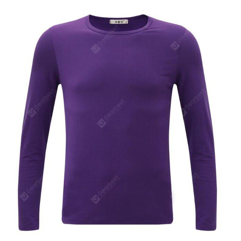 PURPLE M Men's Plus Size Striped Patchwork White Navy Blue T-shirt Casual Slimming Crew Neck Long Sleeve