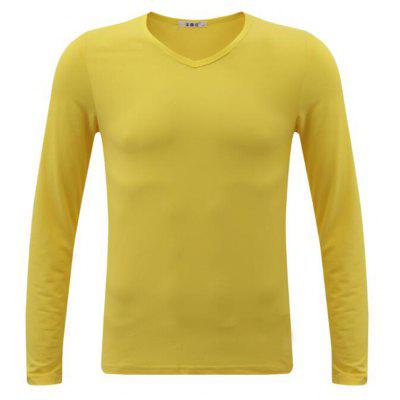 Buy YELLOW XL Men's Casual Daily Simple Spring Fall T-shirt Solid V Neck Long Sleeves Cotton Medium T-shirt for $24.23 in GearBest store