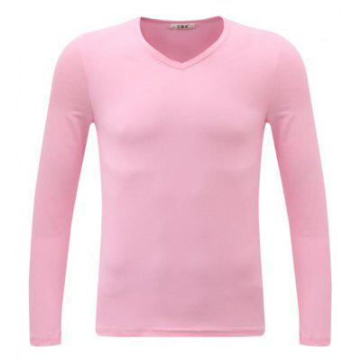 Buy PINK 3XL Men's Casual Daily Simple Spring Fall T-shirt Solid V Neck Long Sleeves Cotton Medium T-shirt for $24.23 in GearBest store