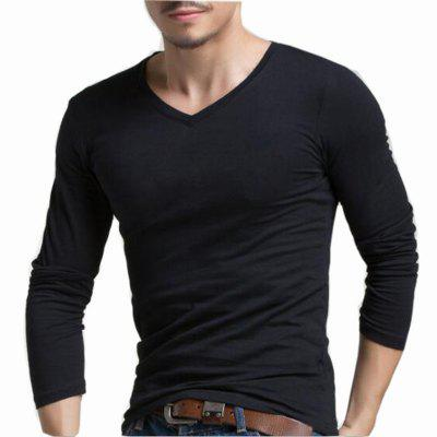 Buy BLACK L Men's Casual Daily Simple Spring Fall T-shirt Solid V Neck Long Sleeves Cotton Medium T-shirt for $24.23 in GearBest store