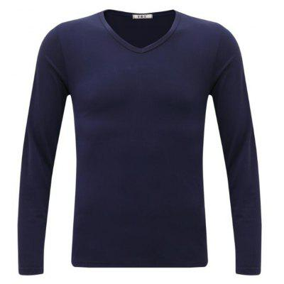 Buy BLUE 3XL Men's Casual Daily Simple Spring Fall T-shirt Solid V Neck Long Sleeves Cotton Medium T-shirt for $24.23 in GearBest store