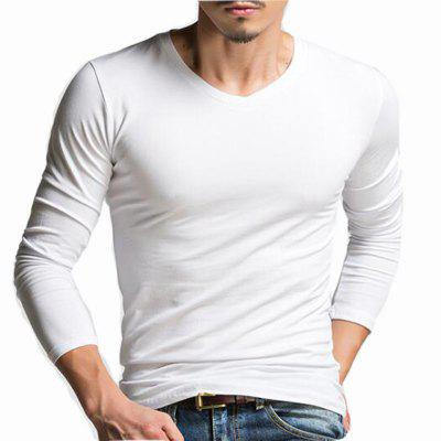 Buy WHITE L Men's Casual Daily Simple Spring Fall T-shirt Solid V Neck Long Sleeves Cotton Medium T-shirt for $24.23 in GearBest store