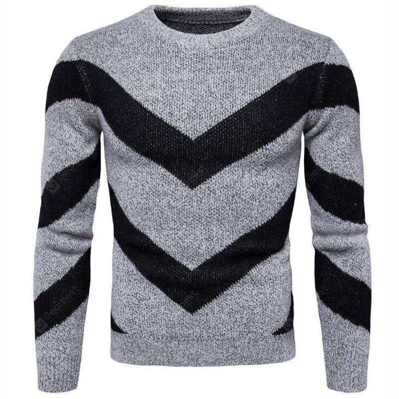 Men's Casual Daily Plus Size Simple Regular Pullover Color Block Round Neck Long Sleeves Cotton Polyester Sweater