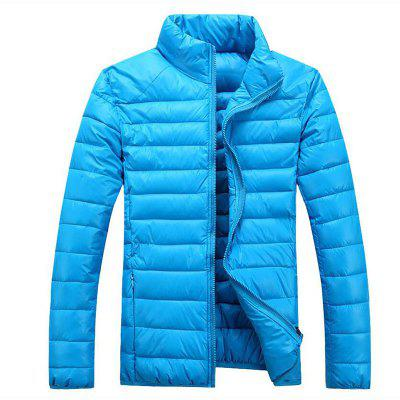 Men'S Regular Padded Coat Simple Casual Daily Solid Polyester Polyester Long Sleeves Stand Coat