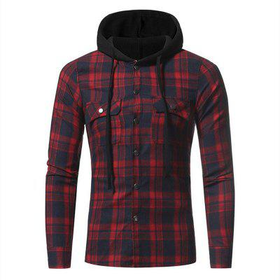 Buy RED L Men's Casual Solid Patchwork Shirt Collar Long Sleeve Cotton for $32.19 in GearBest store