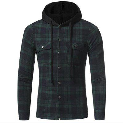 Buy GREEN L Men's Casual Solid Patchwork Shirt Collar Long Sleeve Cotton for $32.19 in GearBest store