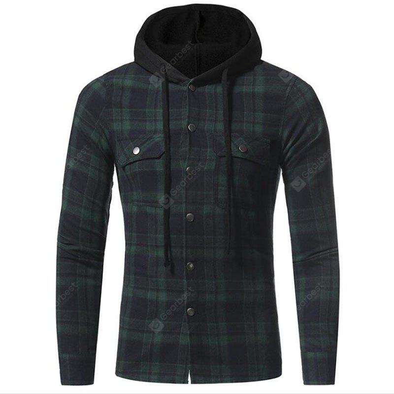 GREEN M Men's Casual Solid Patchwork Shirt Collar Long Sleeve Cotton