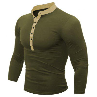 Buy IVY 2XL Men's Casual Daily Plus Size Simple Spring Fall T-shirt Solid Stand Long Sleeves Cotton Polyester Thin T-shirt for $15.99 in GearBest store