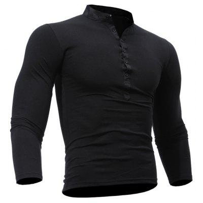 Buy BLACK 3XL Men's Casual Daily Plus Size Simple Spring Fall T-shirt Solid Stand Long Sleeves Cotton Polyester Thin T-shirt for $15.99 in GearBest store