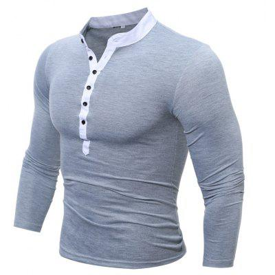Buy GRAY 2XL Men's Casual Daily Plus Size Simple Spring Fall T-shirt Solid Stand Long Sleeves Cotton Polyester Thin T-shirt for $15.99 in GearBest store