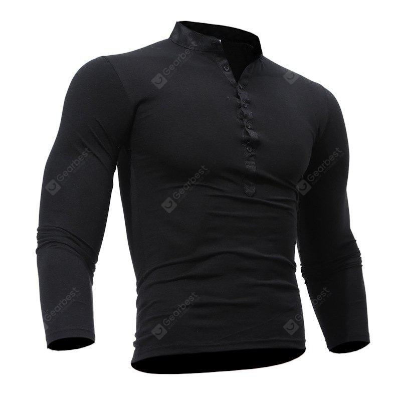BLACK 2XL Men's Casual Daily Plus Size Simple Spring Fall T-shirt Solid Stand Long Sleeves Cotton Polyester Thin T-shirt