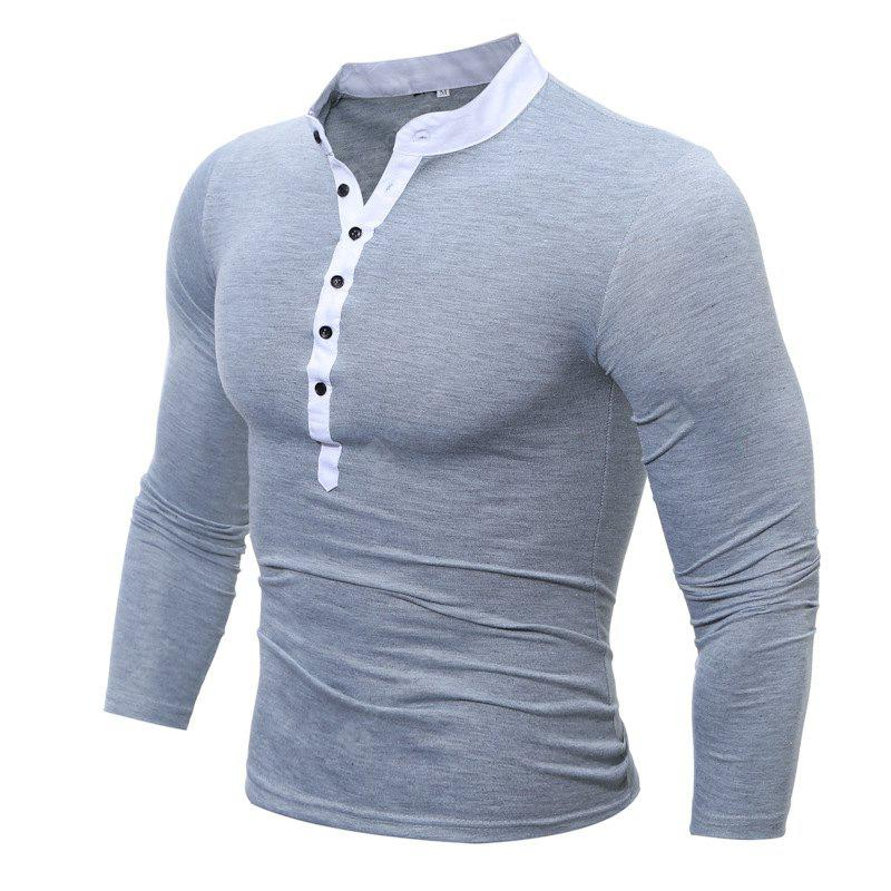 GRAY 3XL Men's Casual Daily Plus Size Simple Spring Fall T-shirt Solid Stand Long Sleeves Cotton Polyester Thin T-shirt