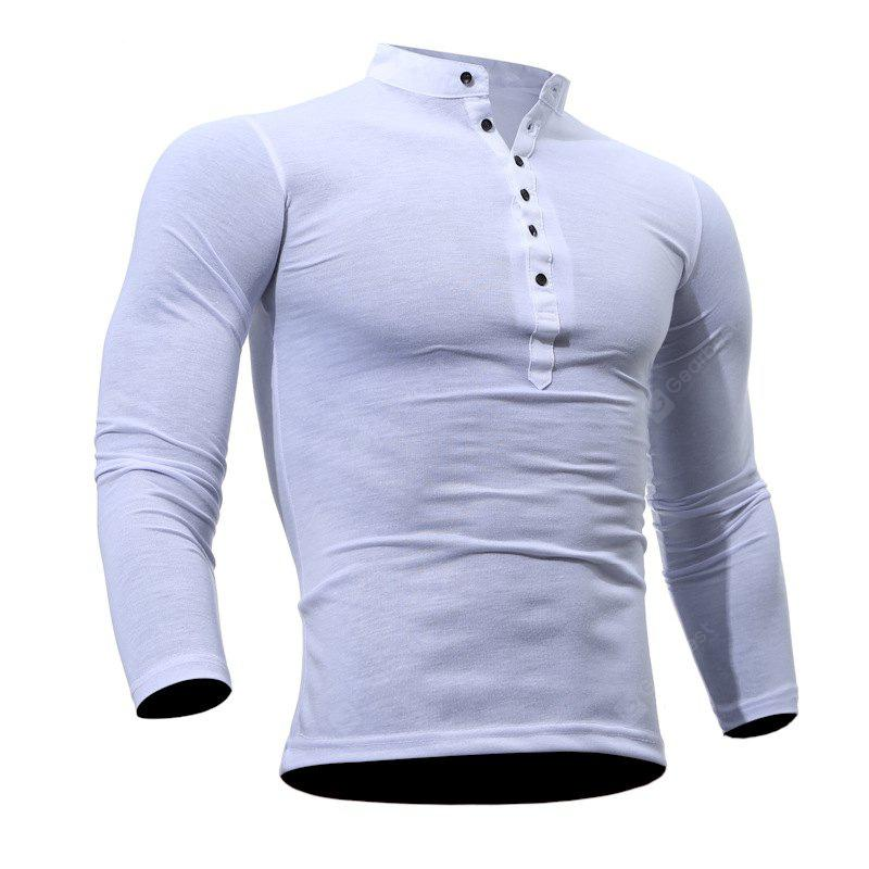 WHITE M Men's Casual Daily Plus Size Simple Spring Fall T-shirt Solid Stand Long Sleeves Cotton Polyester Thin T-shirt