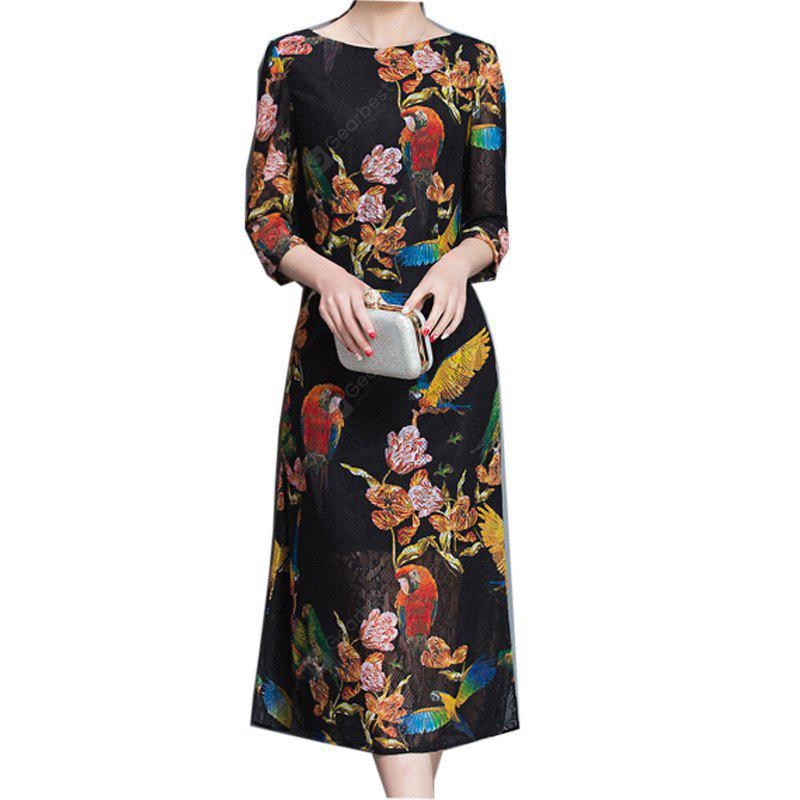 Women's Plus Size Going out Party Vintage Simple Chinoiserie Shift Dress Jacquard Round Neck Midi  Sleeve Others BlackA