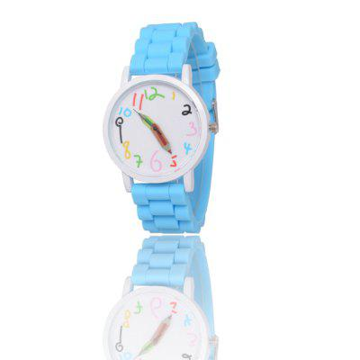 New Popular Children'S Watch Cute Brush Pointer Fashion Watch Simple Style Silicone Strap with Gift Box