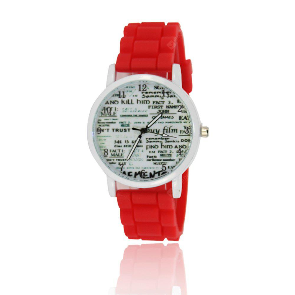 Simple Fashion Women'S Watch Popular Watch Literary Style Newspaper with A Silicone Strap with Gift Box