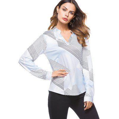 Large Geometric Pattern V Collar Shirt