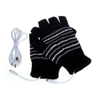 Pair of Heating Warm-keeping Half-finger Gloves for Winter