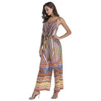 Chiffon Printing Condole V-Neck Wide-Legged JumpsuitJumpsuits &amp; Rompers<br>Chiffon Printing Condole V-Neck Wide-Legged Jumpsuit<br><br>Elasticity: Elastic<br>Fabric Type: Broadcloth<br>Fit Type: Loose<br>Material: Polyester<br>Package Contents: 1xDress<br>Package weight: 0.2600 kg<br>Pattern Type: Print<br>Style: Fashion<br>With Belt: No