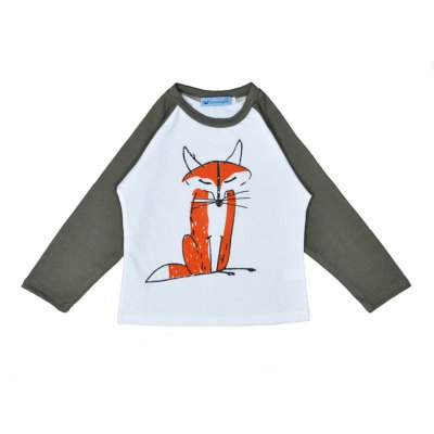 SOSOCOER Children Clothing 2-7T Boy and Girls Cartoon Fox Long Sleeved T-Shirt