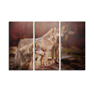 Modern Unframed Canvas Prints of Wolves for Home Decoration 3pcs