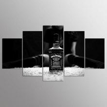 YSDAFEN 5 Panel Modern Jack Daniels Canvas Art for Living Room Wall Picture