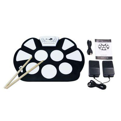 Electronic Drum Set with Drumsticks Roll Up Foldable Style Silicon Pad