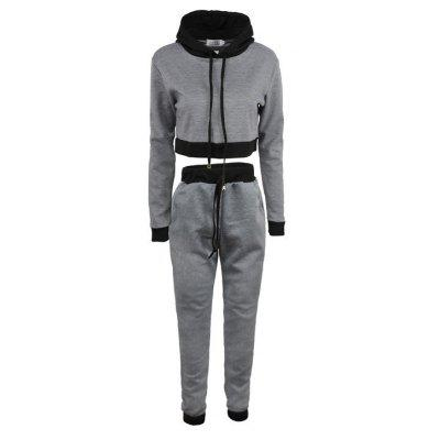 Buy GRAY M Women's 2Pcs Long Sleeve Patchwork Color Block Hoodie Casual Pants Suits for $26.48 in GearBest store